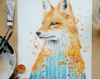 Fox In The Wind - Art Print