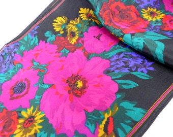 Vintage oblong silk scarf. Beautiful floral in vibrant reds, pinks & greens with black background.
