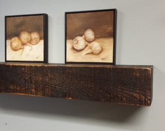 Black Floating Shelf / Floating Shelf / Beam Style Shelves / Rough Lumber Mantel / Reclaimed Wood Shelf