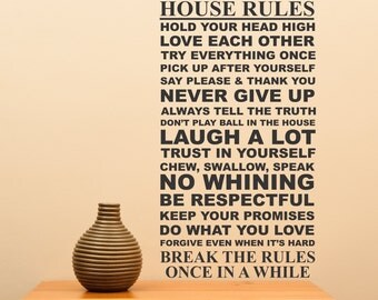 House Rules... vinyl wall decal sharp family