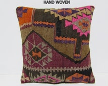 kilim rug pillow 18x18 antique pillow cover ethnic cushion oversized couch pillow indie throw pillow kilim throw pillow burlap cushion C829