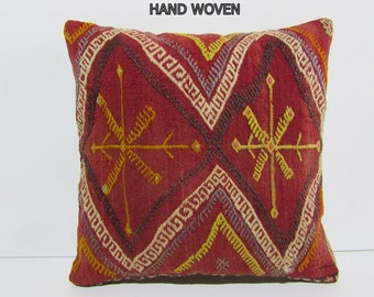 """bohemian tapestry 18"""" moroccan rug ethnic throw pillow wool rug geometric pillow sit pillow kilim pillow cover outdoor floor cushion 33286"""