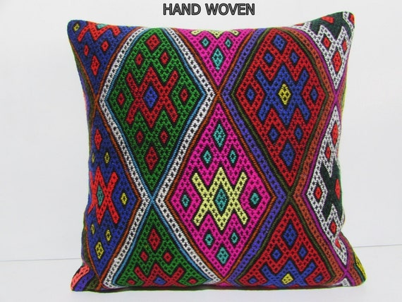 large kilim pillow 24x24 large decorative pillow extra large