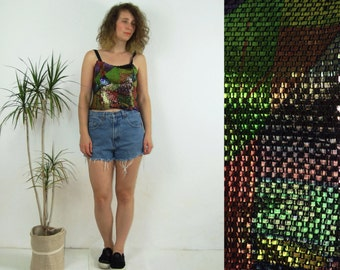 80's vintage women's colorful-metal top