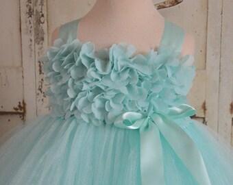 Aqua chiffon hydrangea flower girl tutu dress