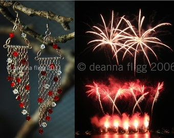 Swarovski Crystal Chandelier Earrings  / Fireworks / Funky, Unique and Colourful / Handmade / Chain / Sterling Silver Hooks