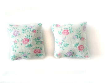 1:12 Set of 2 Miniature dollhouse pillows - white with spring flowers