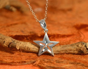 Sterling Silver Star Pendant Necklace - .925 Sterling Silver- Gift Idea, Star Pendant, Graduation Gift, Gift for Her - Free Shipping!!!!
