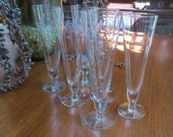Set of Six Princess House Heritage Etched Glass Pilsner Glasses