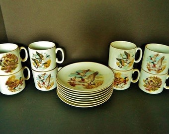 """Naaman Israel """"Game Birds Of the World"""" Plates and Cups"""