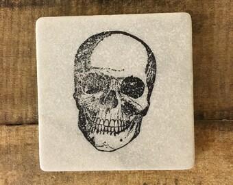 Skull Stone Coasters, Tumbled Marble, Home Decor, Set of Coasters