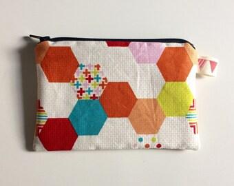 Hexagon Print Zip Pouch (Small, Blue Zip)