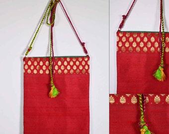 Red and Sea Green Raw Silk Sling Bag - Wedding Gift - Silk Sling Bag - Gift for Girl Friend - Mother's Day Gift - Handmade OOAK Bag