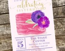 LDS Relief Society Invitation Printable - LDS Invitation -  Custom Personlaized Invitation DIY