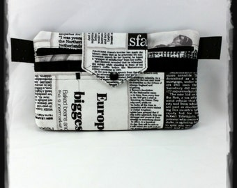 """Black & white bag kit, wallet, purse, card holder (or smartphone case) """"news"""""""