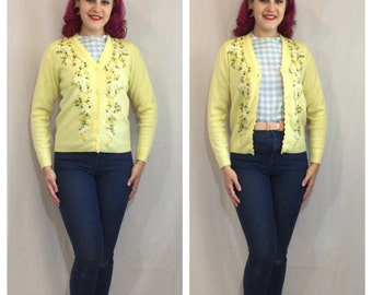 Vintage 1960's Yellow Floral Embroidered Cardigan