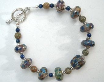 Lampwork bracelet with jasper and Lapis Lazuli, Lampwork bead bracelet, Organic lampwork beads, Glass bracelet. Handmade beaded bracelet