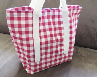 Red Gingham tote bag, cotton bag, reusable grocery bag, Green Market bag
