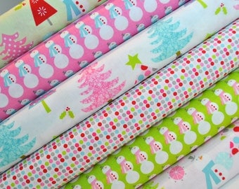 Christmas Holiday Fabric Bundle of Trees, Dots and Snowmen - Riley Blake Designs - 100% cotton - Select Your Length