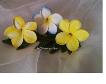 Plumeria Frangipani Hair Clip Pin Real Touch Destination Wedding x 3 or More