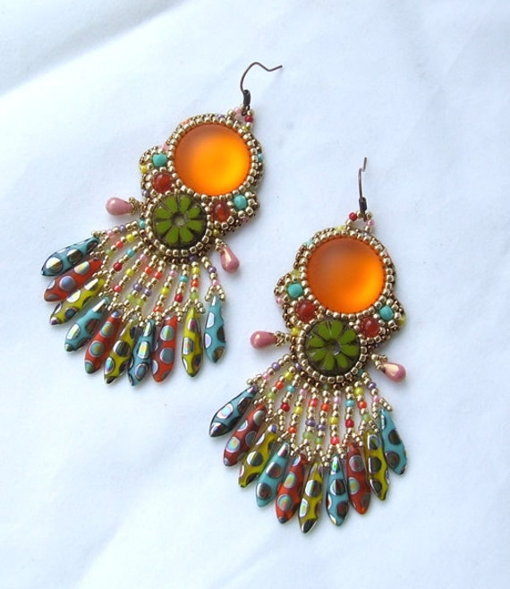 Bead embroidery earrings tutorial kit beaded