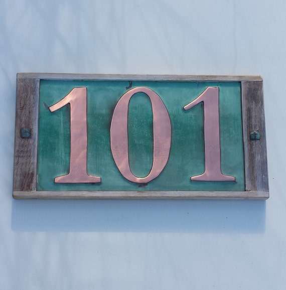 Large copper house numbers in oak frame 3 x by for House number frames