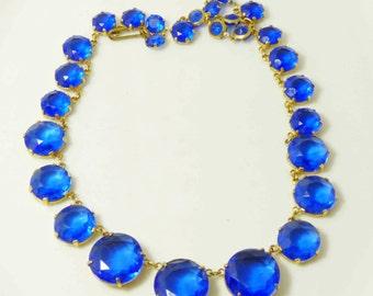 Vintage Art Deco Blue Crystal Open Back Necklace