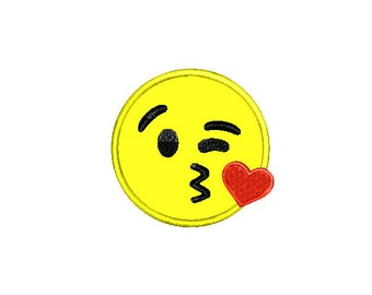 Buy3Get1 FREE - Machine Embroidery Heart Kiss Emoji Applique - INSTANT DOWNLOAD