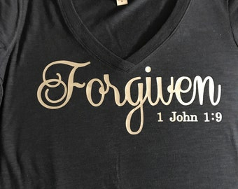 Forgiven Ladies V-neck T-Shirt