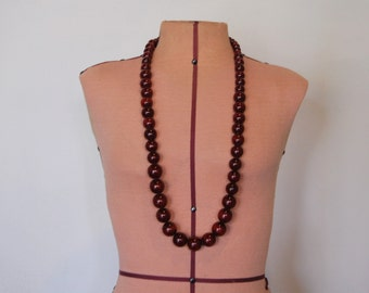 Long Necklace - Tibetan Beads - Classic Statement Jewelry Chunky Large Beads- Bold Rich Cranberry Red