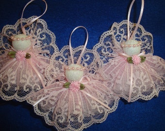 Emma  - pink angel -shabby chic - lace - ornament - decoration -christmas tree