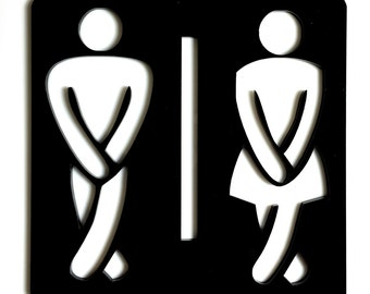 Male and Female Crossed Legs Black Acrylic Toilet Door Sign - 4 Sizes Available