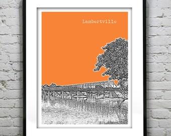 Lambertville Skyline Poster Art Print New Jersey NJ