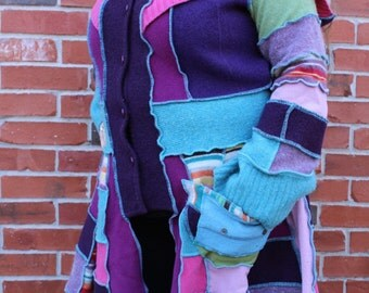 Bright On! Patchwork Wool Upcycle Sweater Coat LRG-XXL