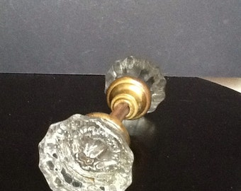 2 vintage glass door knobs and shank