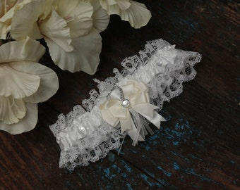 Brides White Wedding Garter - With Ivory Hand Made Bow -  (All Colours Available)