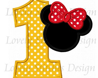 Minnie Mouse Number 1 Applique Machine Embroidery Design NO:0563