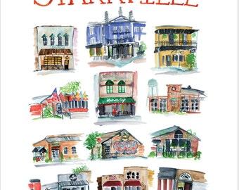 Starkville Mississippi Restaurant Sampler -- 11 x 14 poster