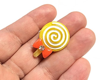 Yellow lollipop ring, Kawaii candy ring