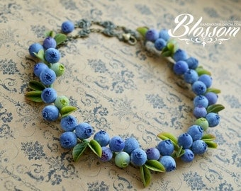 Blueberry necklace, fimo berries necklace, fimo blueberries jewelry, berry jewelry polymer clay