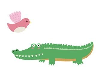 Alligator Wall Decal - Alligator and Bird Fabric Wall Decal