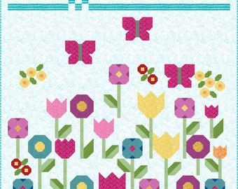Flowers Quilt Pattern, PDF, Instant Download, spring, garden, floral, pretty, tulip, butterfly, modern patchwork