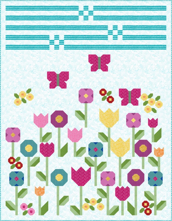 Flowers Quilt Pattern, PDF, Instant Download, spring, garden, floral, pretty, tulip, butterfly, modern patchwork
