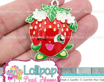 36mm Strawberry Pendant, Red Berry Charm, Fruit Charm, Bubblegum Beads, Silver & Enamel Chunky Necklace Pendant, Party Favors, EAP5