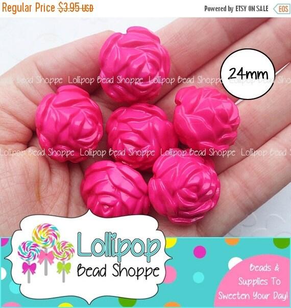 sale 24mm hot pink rose beads round roses by. Black Bedroom Furniture Sets. Home Design Ideas