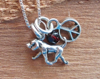 Retriever Mini Peace Sterling Silver Custom Necklace with Birthstone and Initial