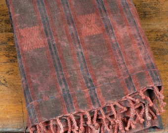 Naga cotton blanket, wax Naga tribal textile, black red brown striped cotton runner, heavy cotton fabric oilskin tablecloth tapestry. OT22