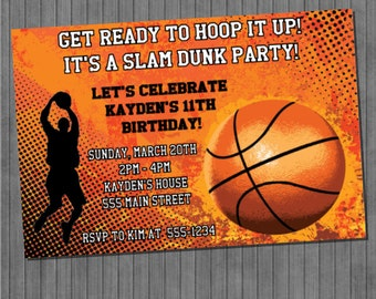 Basketball Party Invitations And Free Basketball Favor Tags