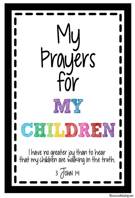 Prayers for my children scripture cards instant digital download