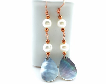 Pearl and Shell Drop Earrings Tsalagi Cherokee Made